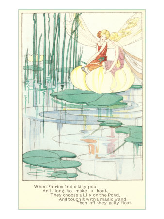 Fashionable Fairies on Lily Pad Stretched Canvas Print