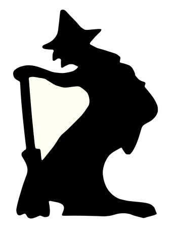 Halloween, Witch Silhouette Stretched Canvas Print