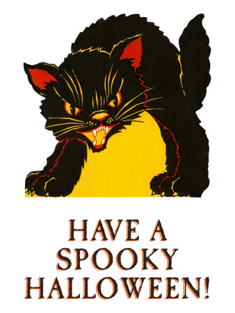 Have a Spooky Halloween, Black Cat Stretched Canvas Print