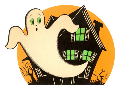 Halloween, Cartoon Ghost Stretched Canvas Print