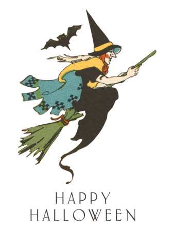 Happy Halloween, Witch and Bat Stretched Canvas Print