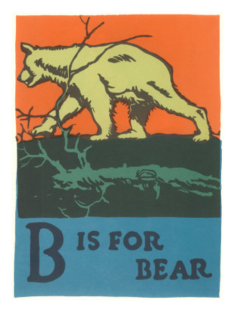 B is for Bear Stretched Canvas Print