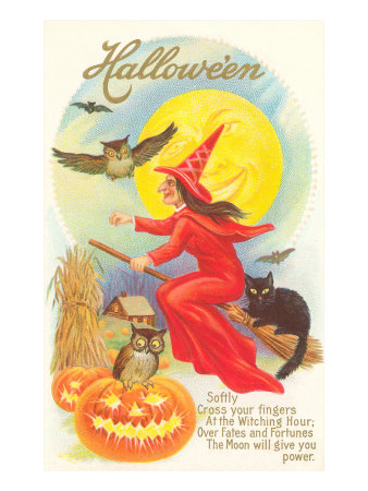 Halloween, Red Witch and Poem Stretched Canvas Print