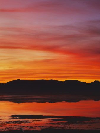 Great Salt Lake at sunset, Salt Lake, Utah, USA Stretched Canvas Print