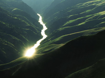 Sunlight reflects off the river, Salmon River, Idaho, USA Stretched Canvas Print