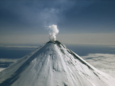 Aerial View of Snow-Capped, Steaming Volcano, Mount Shishaldin ...