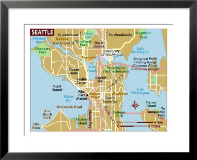 map of north american states. Map of Seattle, United States,