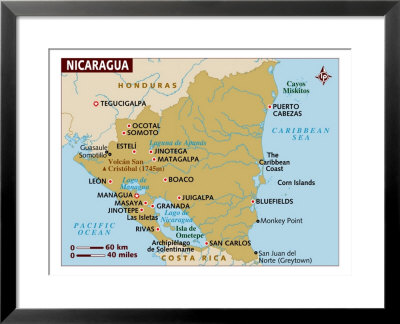 physical maps of nicaragua. and mostly in physical map