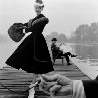 Skater in a Digby Morton Fur Trimmed Velvet Coat and Michael Bentley in the Background, 1955 Stretched Canvas Print