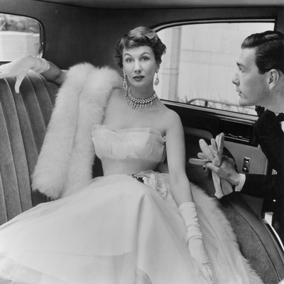 Barbara Goalen in a Julian Rose Evening Dress with Tommy Kyle, 1950 Stretched Canvas Print