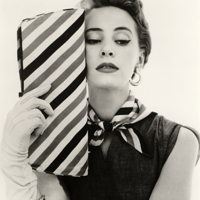 Barbara Miura with Madame Crystal Handbag and Neck Tie, 1953 Stretched Canvas Print