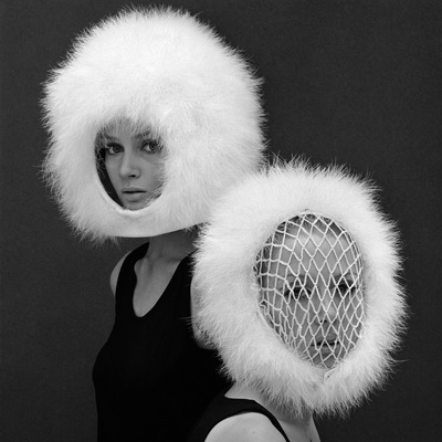 Two Capsule Line Feathered Helmets, 1960s Stretched Canvas Print