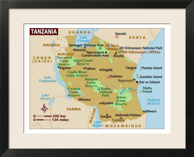 physical map of tanzania. Map of Tanzania, Africa Framed