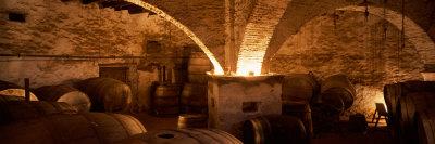 Barrels in a Winery, La Garriga, Barcelona, Catalonia, Spain Stretched Canvas Print