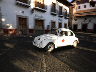 Man Driving a Volkswagen Taxi, Plaza Borda, Taxco, Guerrero, Mexico Stretched Canvas Print