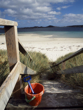 Bucket and Spade on the Steps Leading to the Beach Near Blockhouse Point, Tresco Stretched Canvas Print