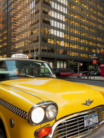 New York City, Manhattan, Yellow Nyc Checker Taxi in the Downtown Financial District of Manhattan,  Stretched Canvas Print