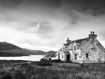 Deserted Farm Near Arivruach, Isle of Lewis, Hebrides, Scotland, UK Stretched Canvas Print