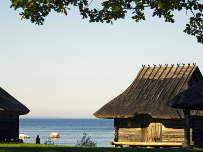 Traditional Thatched Roof Farm House, Located in Rocca Al Mar at the National Open Air Museum Stretched Canvas Print