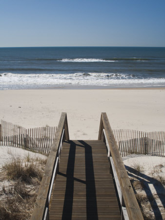 New York, Long Island, the Hamptons, Westhampton Beach, Beach View from Beach Stairs, USA Stretched Canvas Print