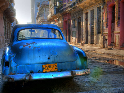 Blue Car in Havana, Cuba, Caribbean Stretched Canvas Print