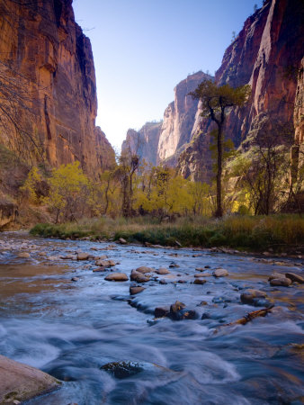 Utah, Zion National Park, the Narrows of North Fork Virgin River, USA Stretched Canvas Print
