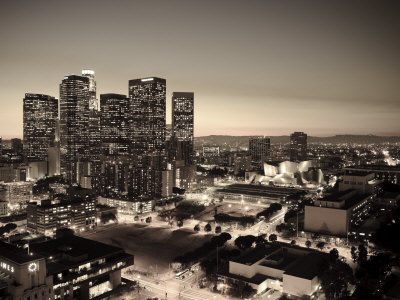 California, Los Angeles, Skyline of Downtown Los Angeles, USA Stretched Canvas Print