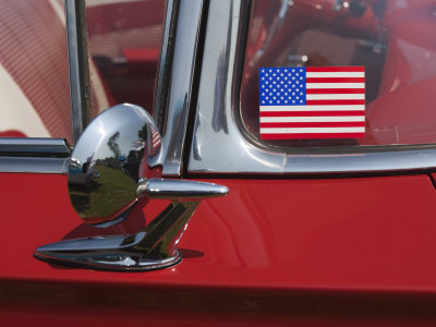 Massachusetts, Cape Ann, Gloucester, Antique Car Show, US Flag Sticker on Windshield of Red Car Stretched Canvas Print