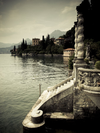 Lombardy, Lakes Region, Lake Como, Varenna, Villa Monastero, Gardens and Lakefront, Italy Stretched Canvas Print