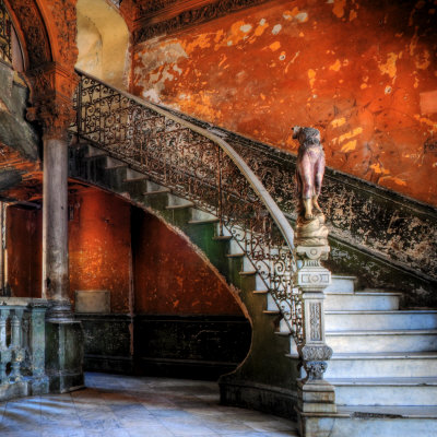 Staircase in the Old Building/ Entrance to La Guarida Restaurant, Havana, Cuba, Caribbean Stretched Canvas Print