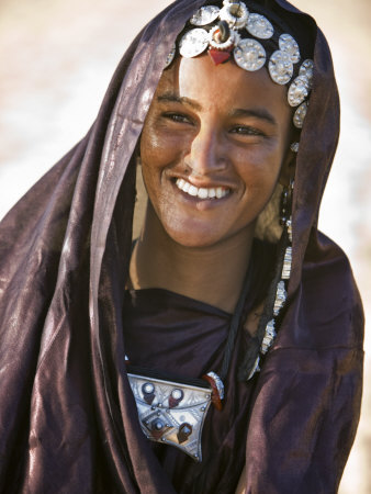 A Tuareg Woman with Attractive Silver Jewellery at Her Desert Home ...
