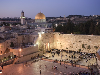 Wailing Wall, Western Wall and Dome of the Rock Mosque, Jerusalem, Israel Stretched Canvas Print