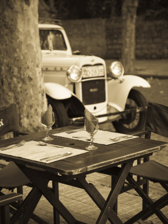 Colonia Del Sacramento, Cafe Table and Old Car, Uruguay Stretched Canvas Print