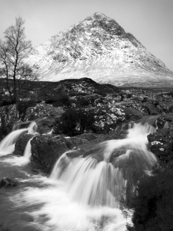 Coupall Falls and Buachaille Etive Mor in Winter, Glencoe, Scotland, UK Stretched Canvas Print