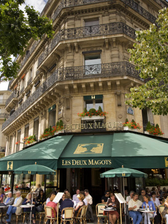 Les Deux Magots Restaurant, Paris, France Stretched Canvas Print