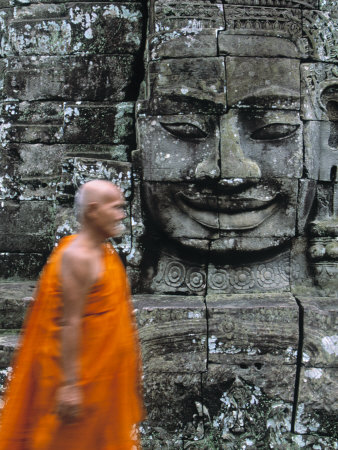 Bayon Temple, Angkor Wat, Siem Reap, Cambodia Stretched Canvas Print