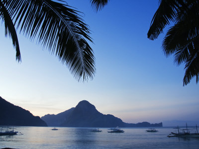 Palawan Province, El Nido, Bacuit Bay, Cadlao Island in the Evening Light, Philippines Stretched Canvas Print