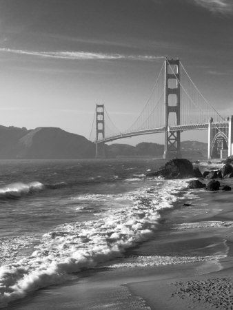 California, San Francisco, Golden Gate Bridge from Marshall Beach, USA Stretched Canvas Print
