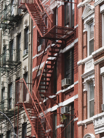 Fire Escapes, Chinatown, Manhattan, New York, United States of America, North America Stretched Canvas Print