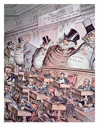 Cartoon Depicting Giant Corporations as 'the bosses of the Senate',