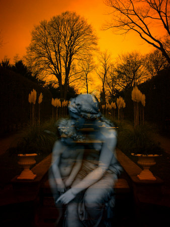 Ghostly Mother and Child in Garden Stretched Canvas Print