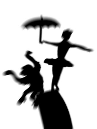 Silhouette of Ballerina Holding Umbrella with Performing Monkey Stretched Canvas Print