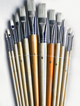 Set of Artist Paintbrushes Fan Out Stretched Canvas Print