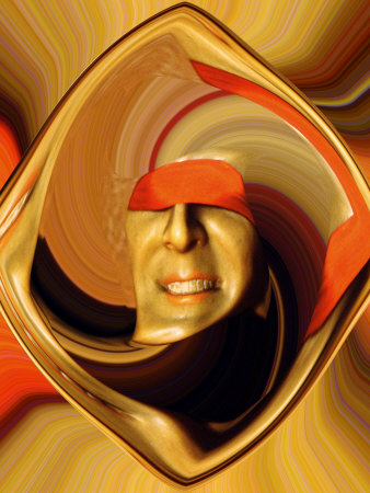 Blindfolded Wax Head in Manipulation Stretched Canvas Print