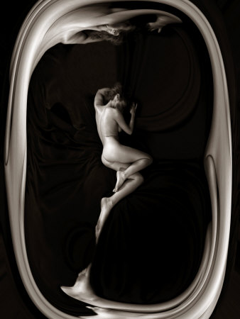 Female Nude Sleeping on Black Background in Oval Frame Stretched Canvas Print