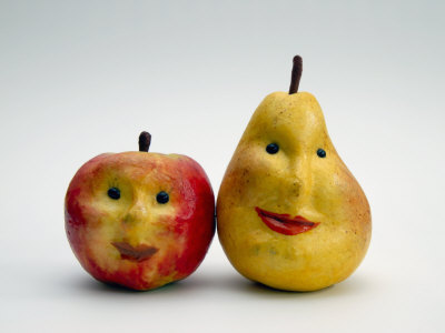 Paper Apple and Pear with Faces Stretched Canvas Print