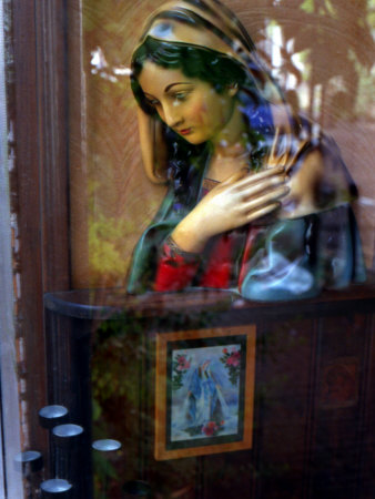 Bust of Maria Viewed Through Window Stretched Canvas Print