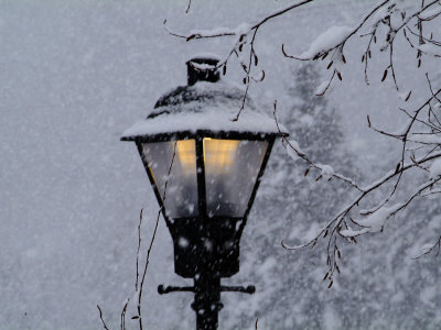 Lamp Post in the Evening Snow Stretched Canvas Print