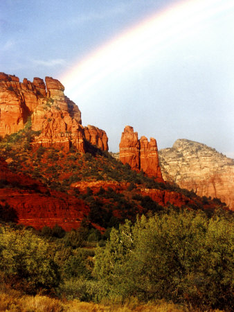 Partial Rainbow over Red Rocks with Bluish Sky, Sedona, Arizona, USA Stretched Canvas Print