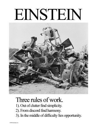 Einstein; Three Rules of Work Stretched Canvas Print